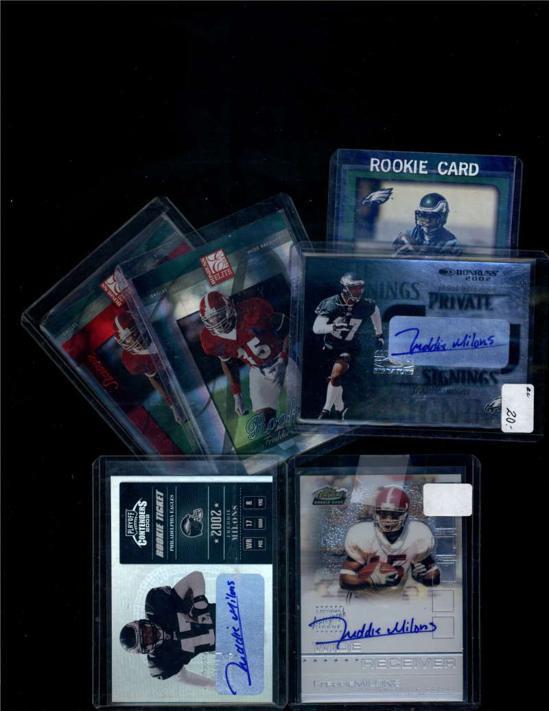 Lot of 6 Freddie Milons RC w/ 3 Autos and 4 Numbered Cards Philadelphia Eagles