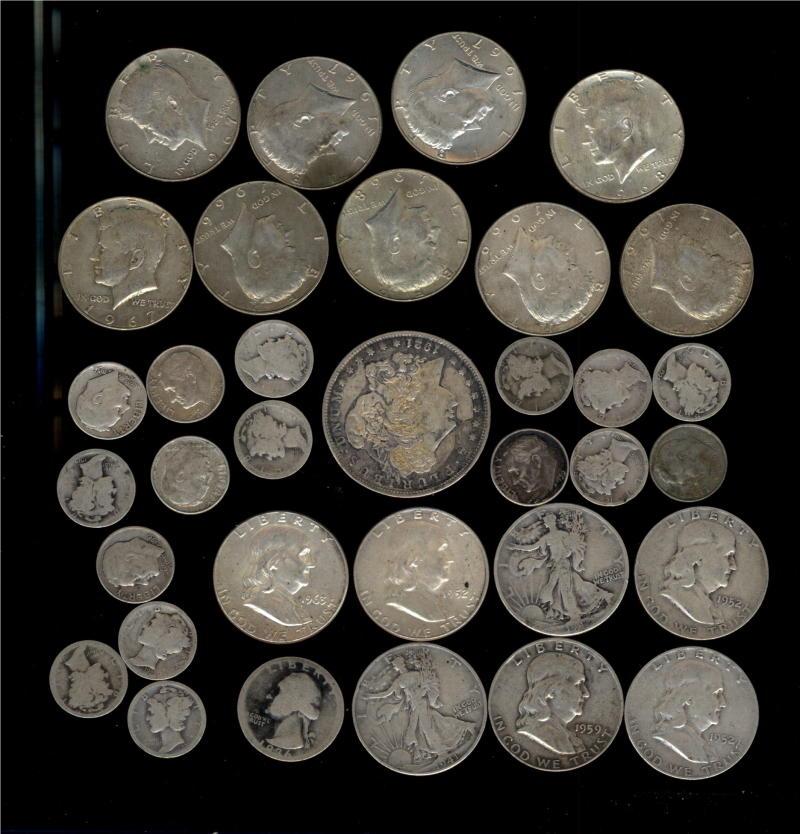 Better Coin Circulated Silver Coin Lot 6.35 90 pct Face 4.50 40 pct Face Morgan Dollar, 16 Half Dollars More