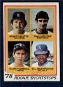 1978 Topps #707 Mickey Klutts/Paul Molitor/Alan Trammell/U.L. Washington Rookie Shortstops NM-MT RC Rookie New York Yankees/Milwaukee Brewers/Detroit
