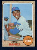 1968 Topps #355 Ernie Banks VG Very Good Chicago Cubs Pencil on Back